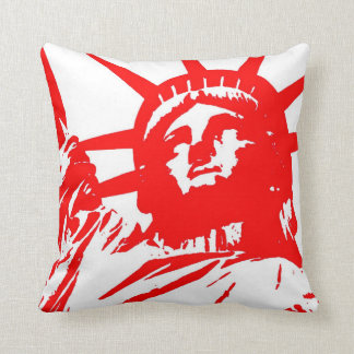 Red White Pop Art Statue of Liberty Throw Pillow