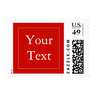 Red & White Postage Stamps w/ Custom Text