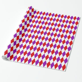 Red White Purple Harlequin Diamond Pattern Wrapping Paper