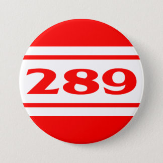 Red White Race Stripe Muscle Car 289 Button