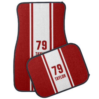 Red & White Racer Monogram Stripe Car Mats