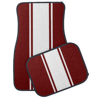 Red & White Racer Stripe Car Mats