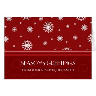 Red White Real Estate Season's Greetings Card