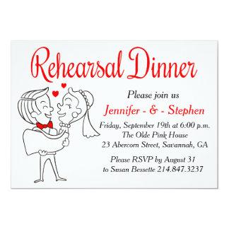 Red & White Rehearsal Dinner Cartoon Bride & Groom Card