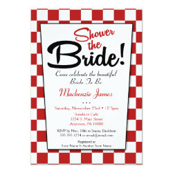 Red White Retro 50s Diner Bridal Shower Invitation