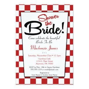 d67b4d641d7 Red White Retro 50s Diner Bridal Shower Invitation