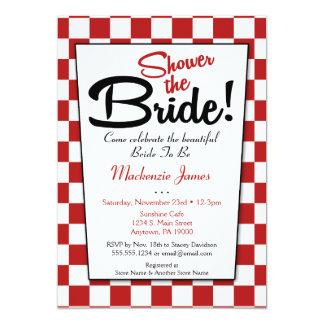 Red White Retro 50s Diner Bridal Shower Invitation