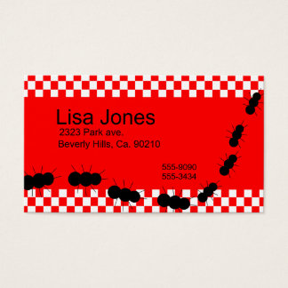 Red & White Retro Checkerboard & Ants Business Card