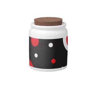 Red White Retro Circle Pattern Black Candy Jars