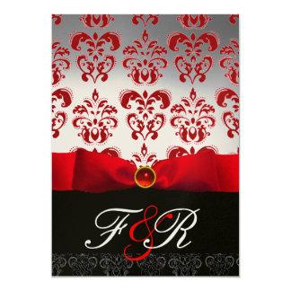 RED WHITE RIBBON & BLACK DAMASK MONOGRAM Ruby 5x7 Paper Invitation Card
