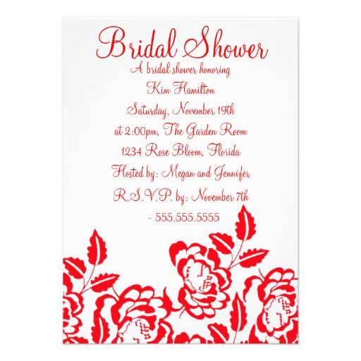Red & White Rose Bridal Shower Invitation from Zazzle.com