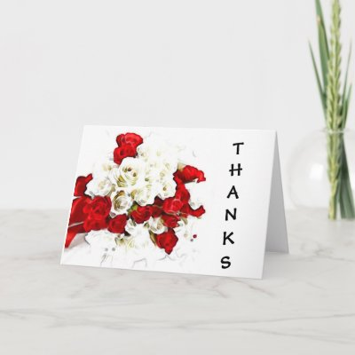 Red-White Rose Thank You Notes Card by DreamWed