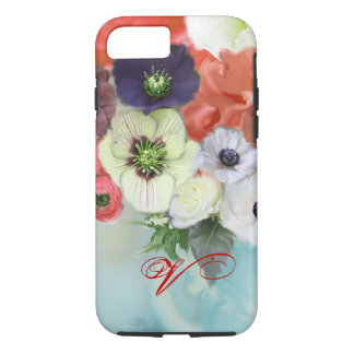 RED WHITE ROSES AND ANEMONE FLOWERS MONOGRAM iPhone 8/7 CASE