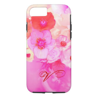 RED WHITE ROSES AND PINK ANEMONE FLOWERS MONOGRAM iPhone 8/7 CASE