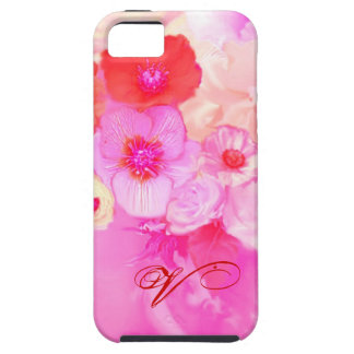 RED WHITE ROSES AND PINK ANEMONE FLOWERS MONOGRAM iPhone SE/5/5s CASE