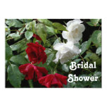 "Red White Roses Bridal Wedding Shower Invitation 5"" X 7"" Invitation Card"