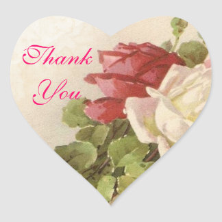 Red & White Roses Green Leaves Thank You Seal Heart Sticker