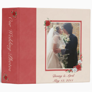 Red & White Roses Wedding Photo Album Binder