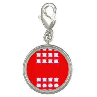 Red White Round Charm, Silver Plated Charm