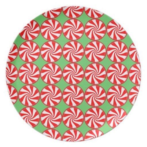 Red white round swirl peppermint candy christmas party plate zazzle
