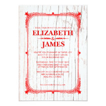 Red & White Rustic Barn Wood Wedding Invitations