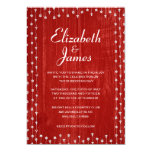 Red White Rustic Country Wood Wedding Invitations Cards