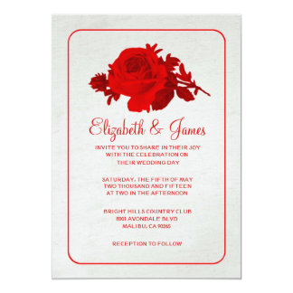 Red White Rustic Floral/Flower Wedding Invitations
