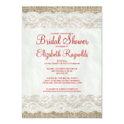 Red & White Rustic Lace Bridal Shower Invitations