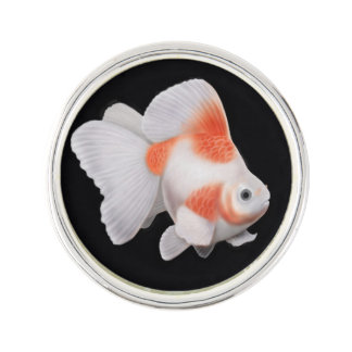 Red White Ryukin Fantail Goldfish Lapel Pin