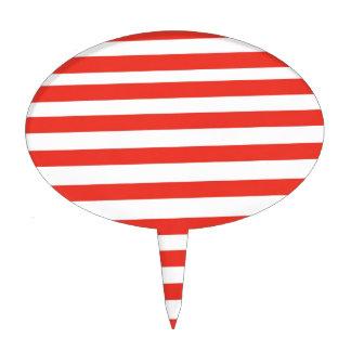 Red White Sailor Stripes Cake Topper
