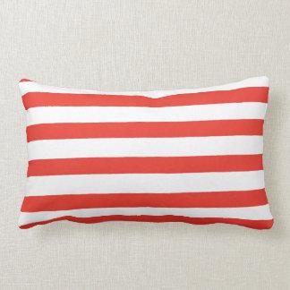 Red White Sailor Stripes Lumbar Pillow