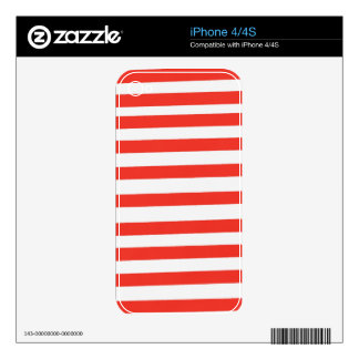 Red White Sailor Stripes Skin For The iPhone 4