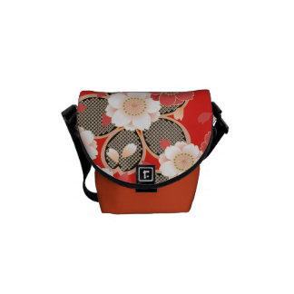 Red & White Sakura Floral Japanese Kimono Courier Bag
