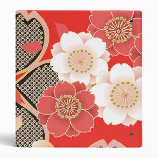 Red & White Sakura Japanese Kimono Binder