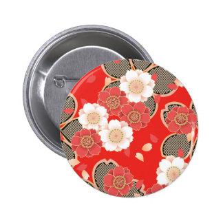 Red & White Sakura Japanese Kimono Button