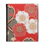 Red & White Sakura Japanese Kimono iPad Case