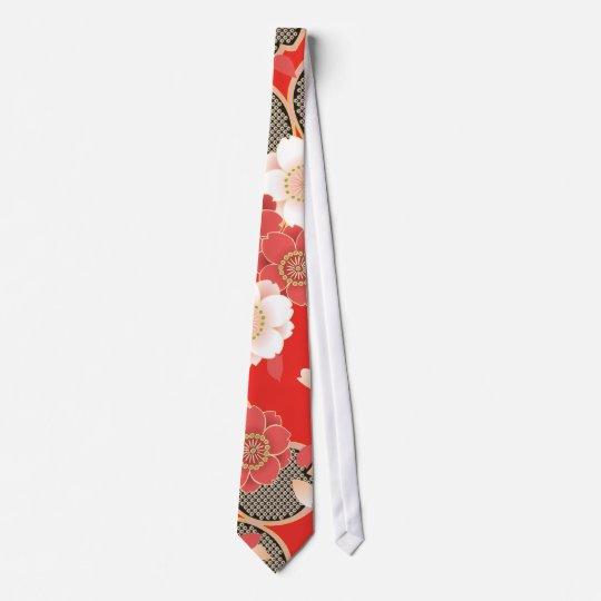 Red & White Sakura Japanese Kimono Neck Tie