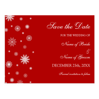 Red White Save the Date Winter Wedding Postcard