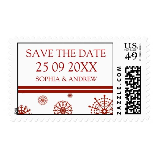Red White Save the Date Winter Wedding Stamps