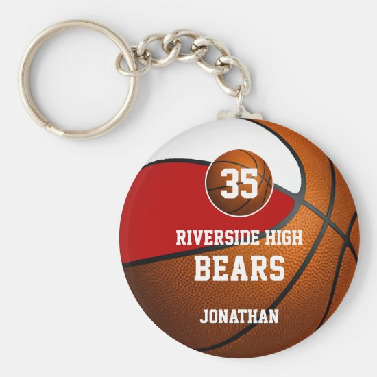 Red white school colors boys' basketball team keychain