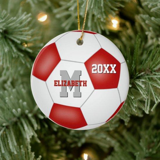 red white school spirit girls boys soccer ceramic ornament