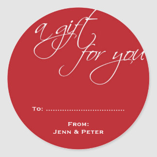 Red white script custom Christmas holiday gift tag Classic Round Sticker