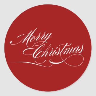 Red White Script Merry Christmas Stickers