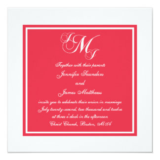 Red White Script Monogrammed Wedding Invitation