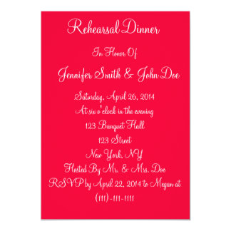 Red White Script Wedding Rehearsal Dinner Cards