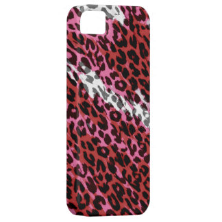 Red, white seamles animal print texture of leopard iPhone SE/5/5s case