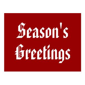 Red White Seasons Greetings Holiday Postcard