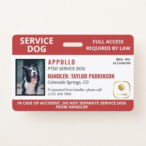 Red White Service Dog Logo & Photo ID Badge