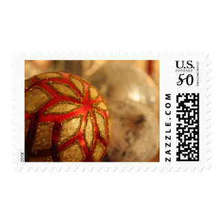 Red, White & Silver Christmas Ball Decorations Postage