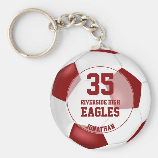 red white simple soccer ball boys' team spirit keychain